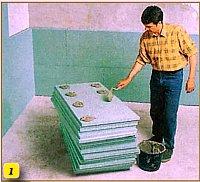 нанесення клею на плити утеплювача